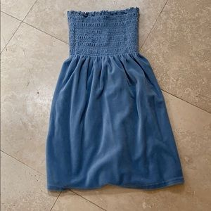 Juicy Couture Sky Blue Velour Strapless Dress   P